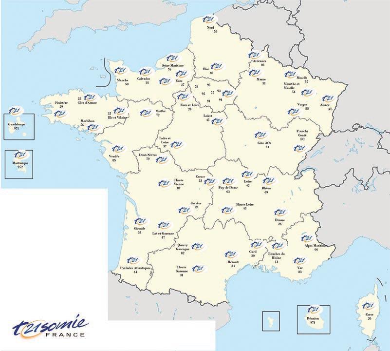 Carte des associations Trisomie 21 France